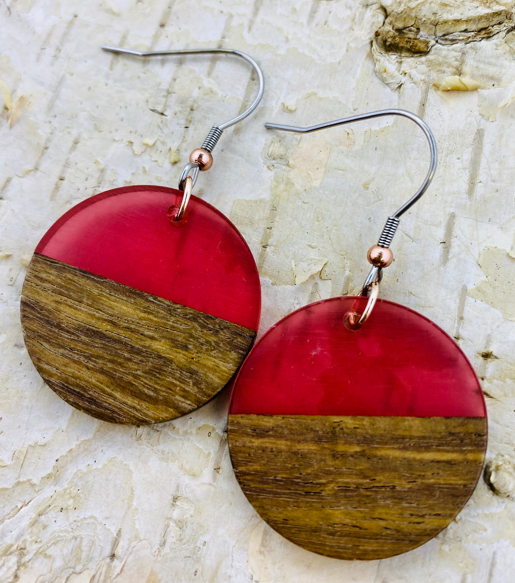 Resin & Wood Circle Earring in Red