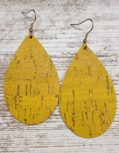 Mustard Cork Leather Earring