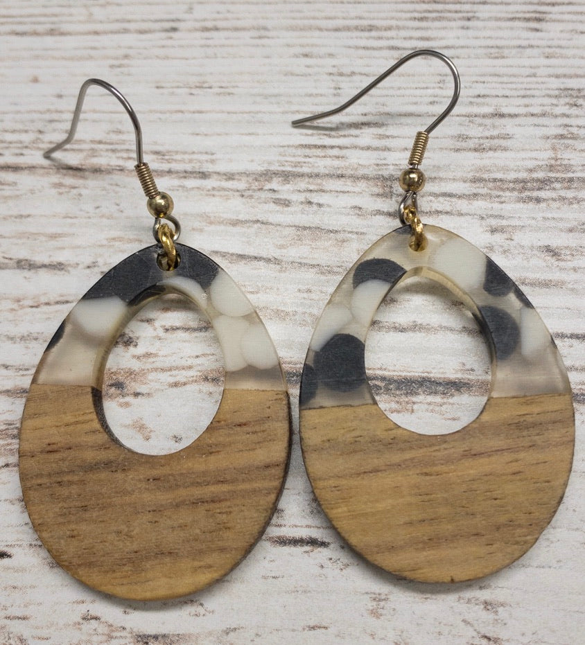 Speckled Teardrop Wood & Resin Earring