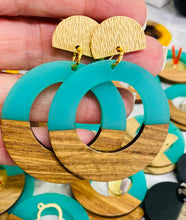 Turquoise Wood & Resin Large Earring