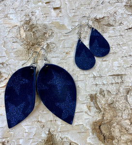 Navy Blue Suede Metallic Star Leather Earring