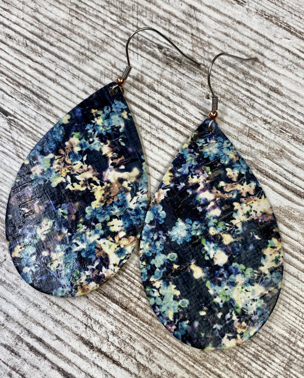 Blue Abstract Print Cork Leather Earring