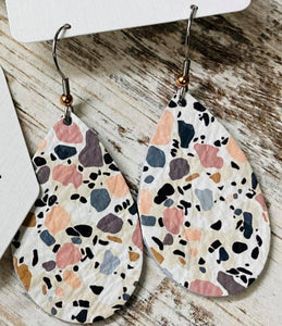 Pastel Speckle Leather Earring