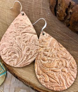Western Rose Gold Leather Earring