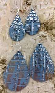 Blue & Metallic Silver Leather Earring