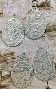 White Wash Gold Leather Earring