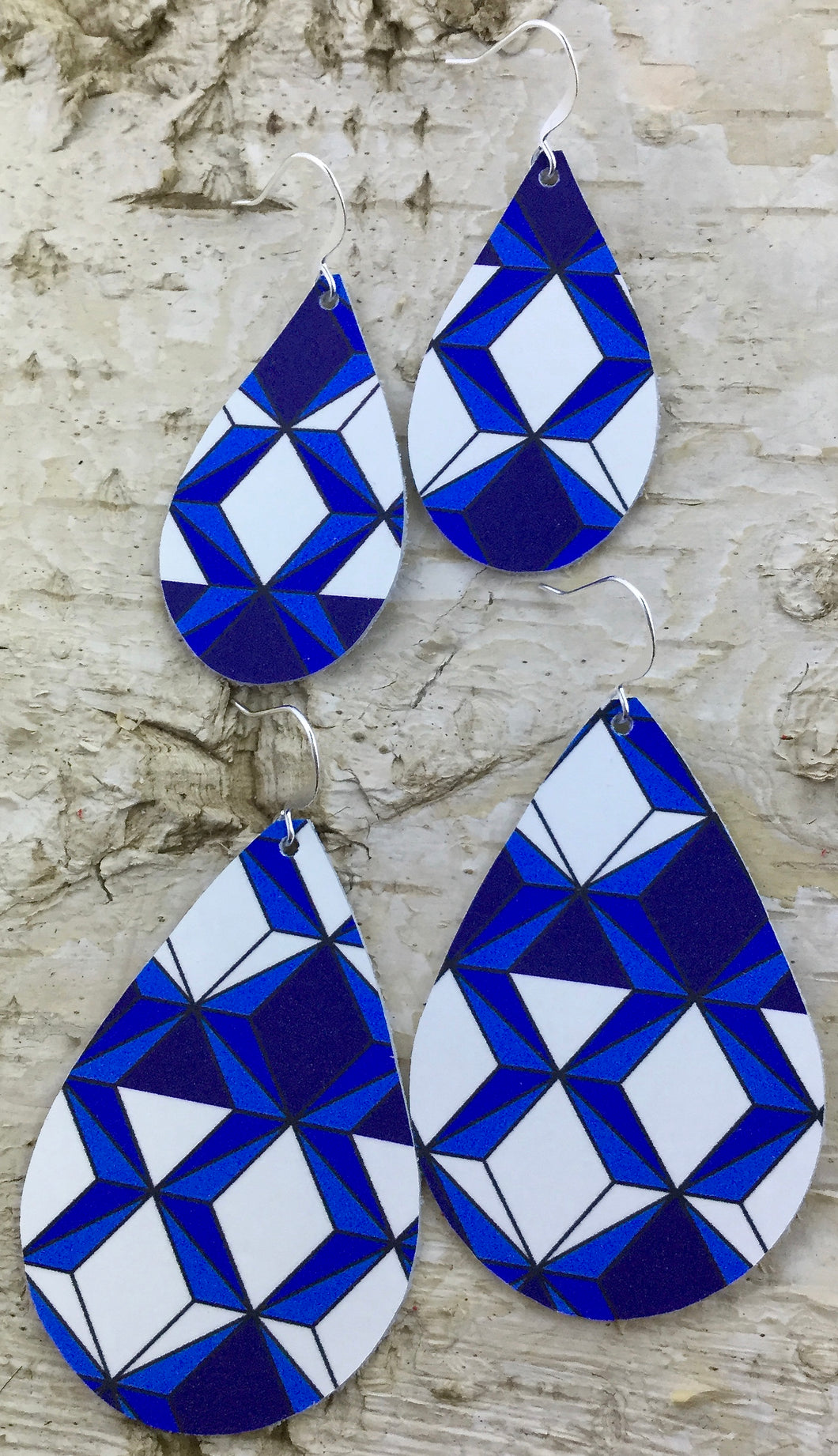Cobalt Prism Leather Earring