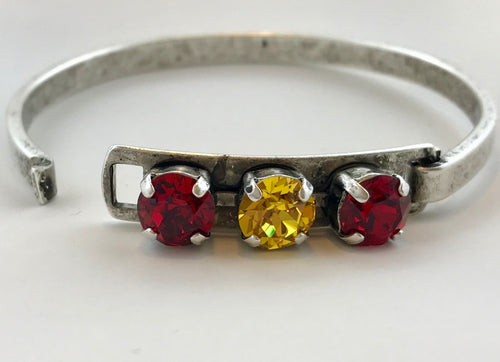 Scarlet & Sunflower Three Stone Swarovski Bangle