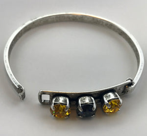 Sunflower & Jet Black Three Stone Swarovski Bangle