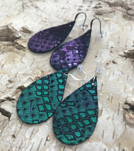 Purple & Teal Scale Leather Earring