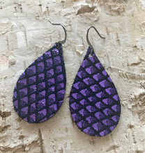Purple Fish Scale Leather Earring