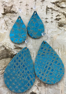 Teal & Tan Scale Leather Earring