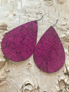 Fuchsia Vintage Crackle Leather Earring