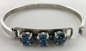 Denim Crystal Three Stone Swarovski Bangle