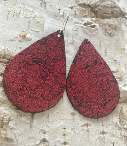 Red Vintage Crackle Leather Earring