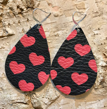 Red Heart Leather Earring