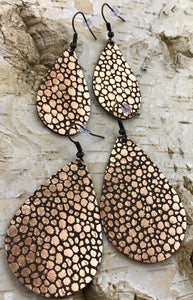 Rose Gold & Brown Speckle Leather Earring