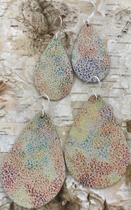 Rainbow & Neutral Speckled Leather Earring