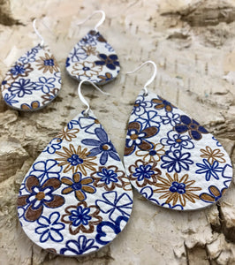 Denim & Khaki Floral Print Leather Earring