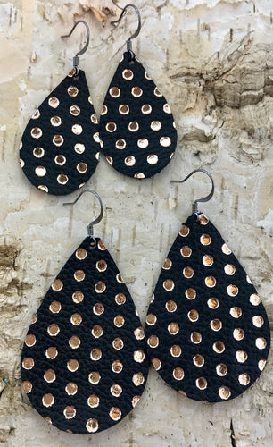 Black & Rose Gold Polka Dot Leather Earring