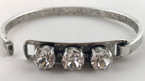 Clear Crystal Three Stone Swarovski Bangle
