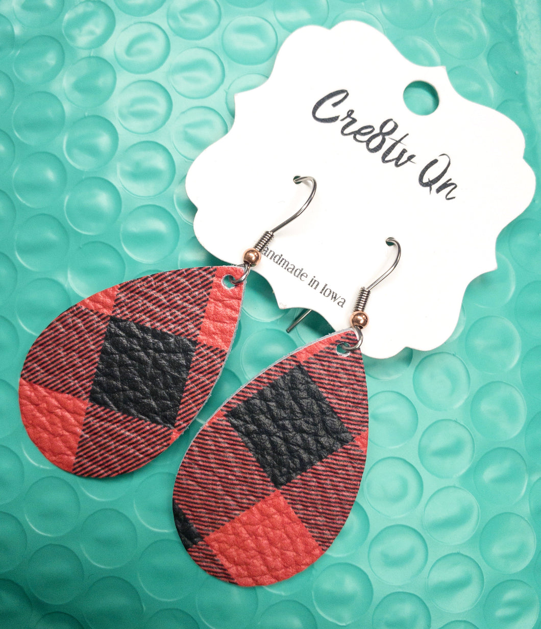 Red & Black Plaid Leather Earring