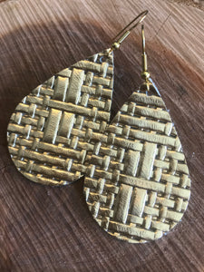 Gold BasketWeave Leather Earring
