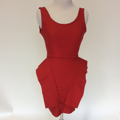 Vintage 80's/90's Necessary Clothing Red Peplum Open Back Dress. XXS!