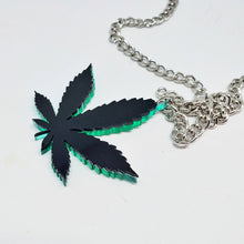 Sweet Leaf mirror acrylic pendant necklace