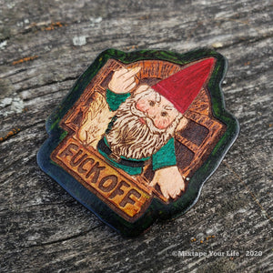 Angry Gnome and Squirrel Handmade Wood Lapel Pin