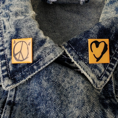 Peace and Heart Enamel Pin Duo