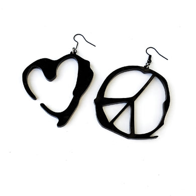 Heart and Peace Symbol Earrings