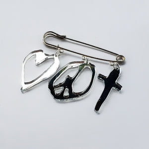 Mirror acrylic charms safety pin brooch