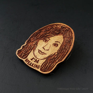 Kamala Harris Wood Brooch