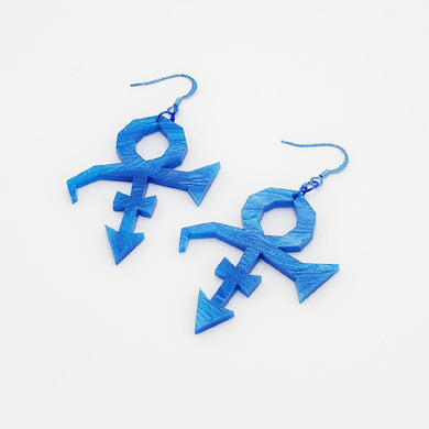 Blue rave symbol acrylic earrings