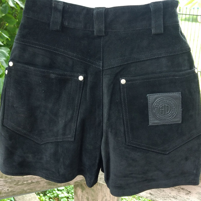 Authentic Harley Davidson black suede short shorts, Size 6