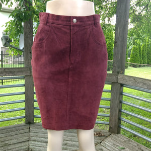 1980's United Colors of Benetton Plum Purple Suede Miniskirt! Size 14