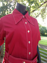 1970's Vintage Red Shirt Dress with oversized collar. Great PLUS SIZE!