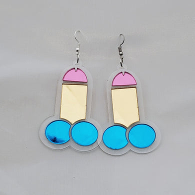 Shiny Peen Mirror Acrylic Earrings