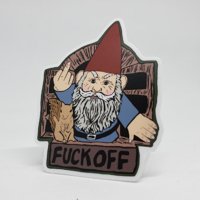 Angry Gnome Sign Sticker