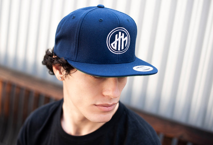 d4h Puff Silver Embroidered Logo Navy Flex Fit Hat