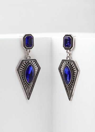 Art Deco Blue Earrings Earrings - FIACCI