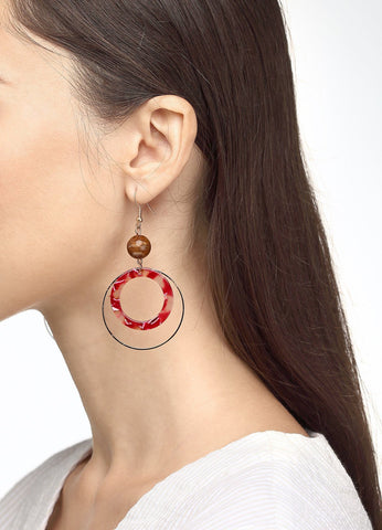Double Fun Hoop Earring (red) Earrings - FIACCI