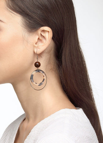 Double Fun Hoop Earring (tortoise) Earrings - FIACCI