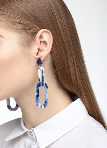Linked To Love Earrings (white/blue) Earrings - FIACCI
