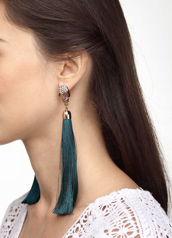 Pavã© Skull Tassel Earrings (green) Earrings - FIACCI