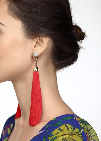Pavã© Skull Tassel Earrings (red) Earrings - FIACCI
