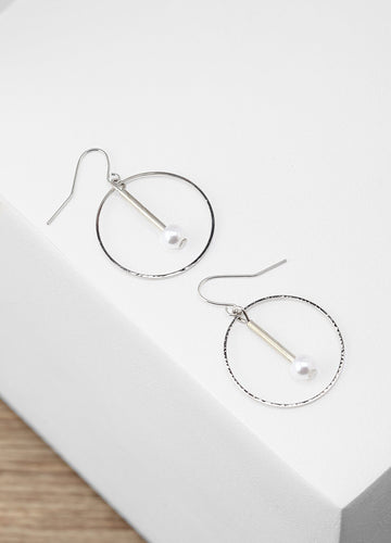 Pearl Hoop Earrings (silver) Earrings - FIACCI