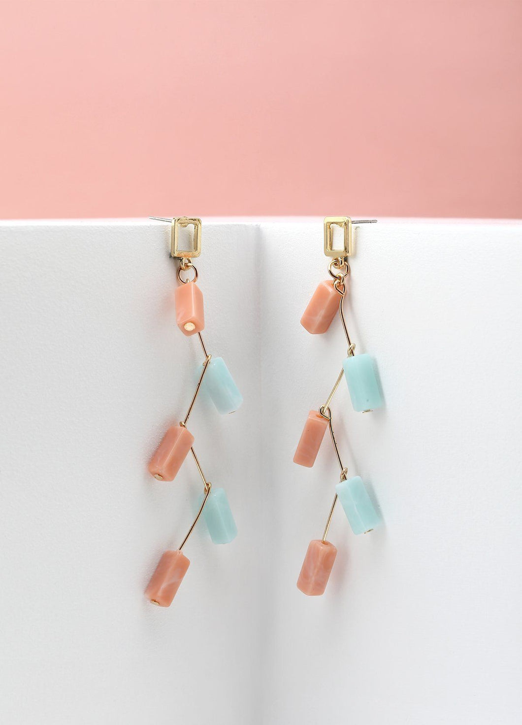 Pink And Blue Garland Earrings Earrings - FIACCI