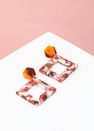 Retro Rocking Squares Earrings  (red) Earrings - FIACCI